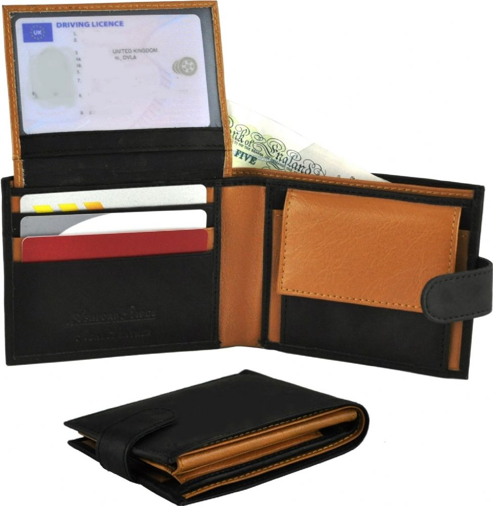 Real Leather 2 Tone Wallet in Black/Tan